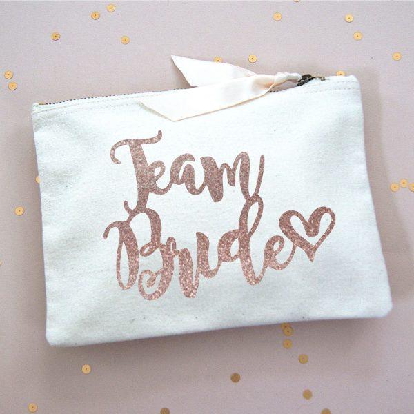 TEAM BRIDE MAKE UP BAG ROSE GOLD FOIL
