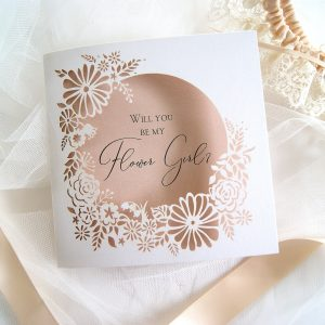 will you be my flower girl wedding wreath card