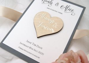 Wooden Heart Save the Dates