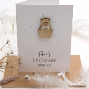 Babies First Christmas Bert Bear Card