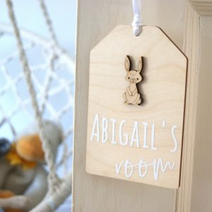 Betsy Bunny Personalised Wooden Door Hanging Sign