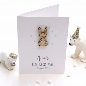 Babies First Christmas Betsy Bunny Card