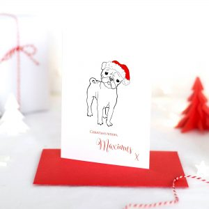 Personalised Bull Dog Christmas Card
