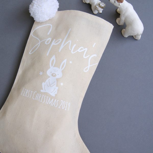 First Christmas Personalised Winter Rabbit Stocking