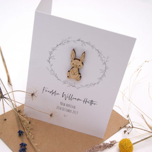 Besty Bunny New Baby Personalised Card