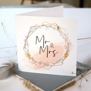 GOLD LEAF MR AND MRS WEDDING CARD