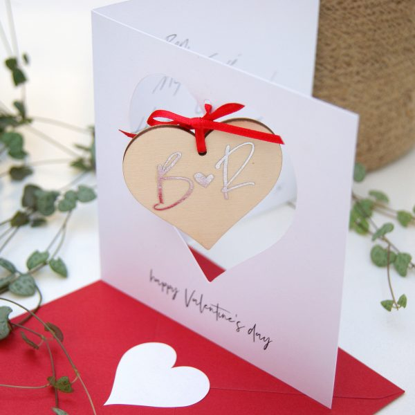HANGING HEART VALENTINES CARD PERSONALISED MONOGRAM AND MESSAGE RED FOIL