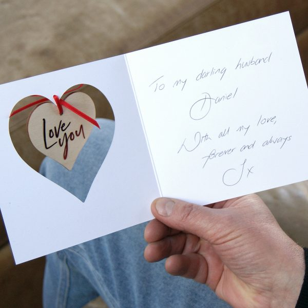 HANGING HEART VALENTINES CARD PERSONALISED NAME AND MESSAGE RED FOIL