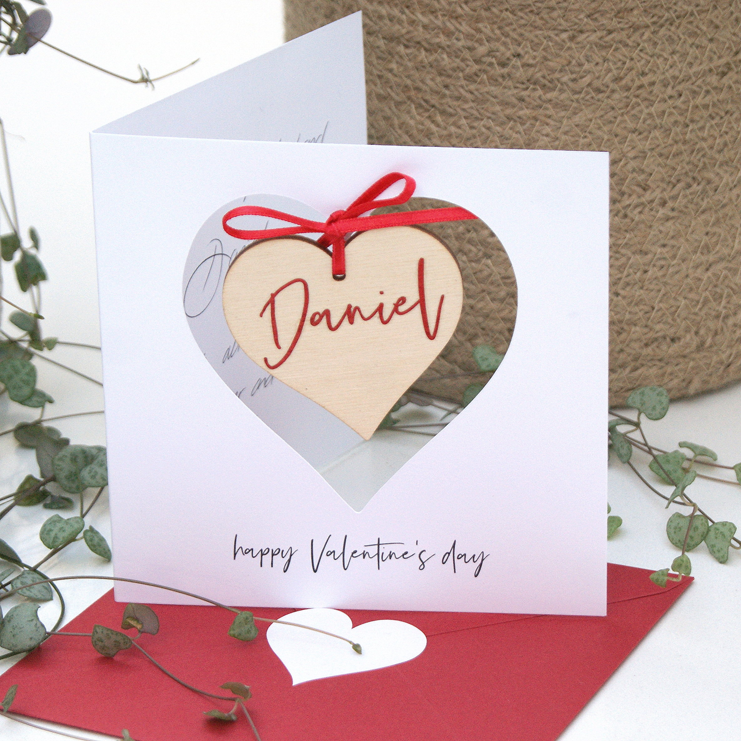 valentine's card hanging personalised message heart  shop