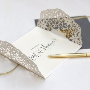 Laser Cut Lace Will You Be My Maid of Honour