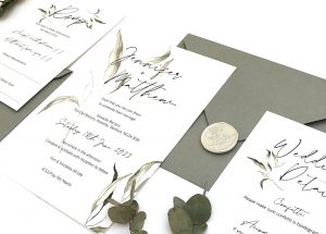 Greenery Weddng Invitation and RSVP card